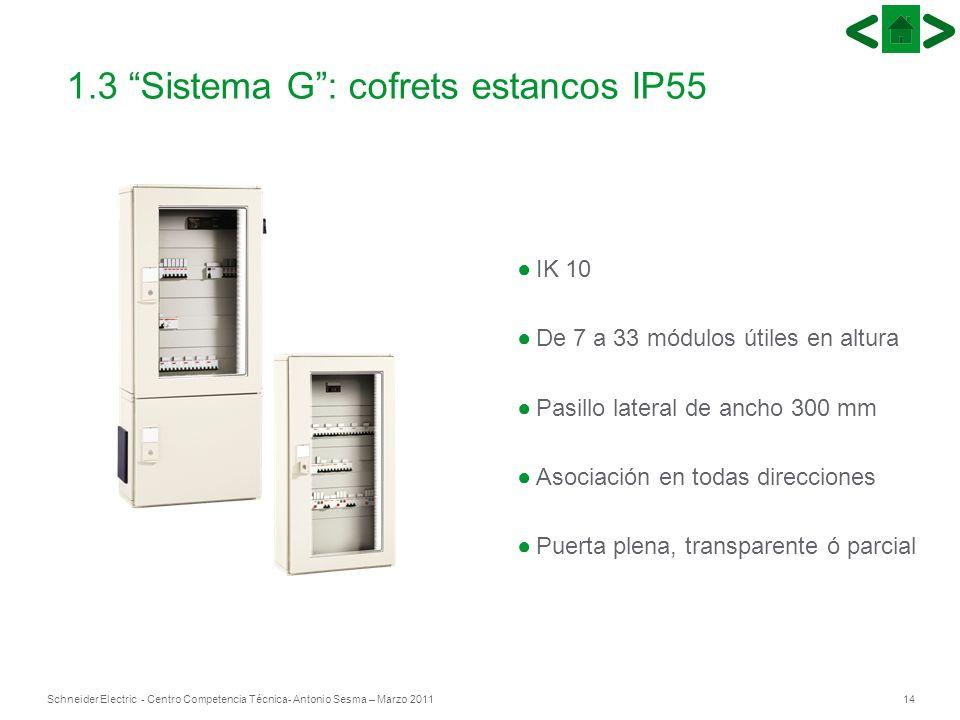 14Schneider Electric - Centro Competencia Técnica- Antonio Sesma – Marzo 2011 IK 10 De 7 a 33 módulos útiles en altura Pasillo lateral de ancho 300 mm