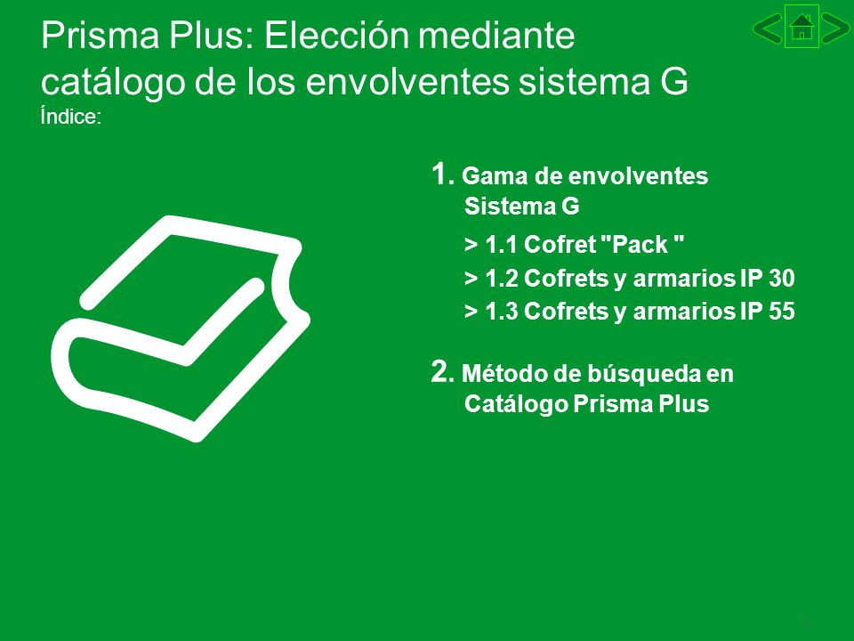 3 Prisma Plus: Elección mediante catálogo de los envolventes sistema G Índice: 1. Gama de envolventes Sistema G > 1.1 Cofret