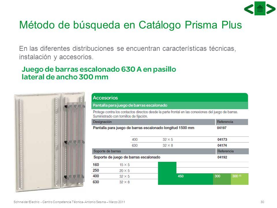 30Schneider Electric - Centro Competencia Técnica- Antonio Sesma – Marzo 2011 Método de búsqueda en Catálogo Prisma Plus En las diferentes distribucio