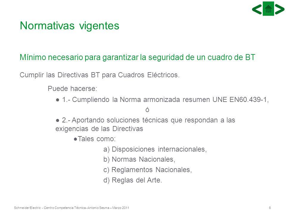 6Schneider Electric - Centro Competencia Técnica- Antonio Sesma – Marzo 2011 Mínimo necesario para garantizar la seguridad de un cuadro de BT Cumplir