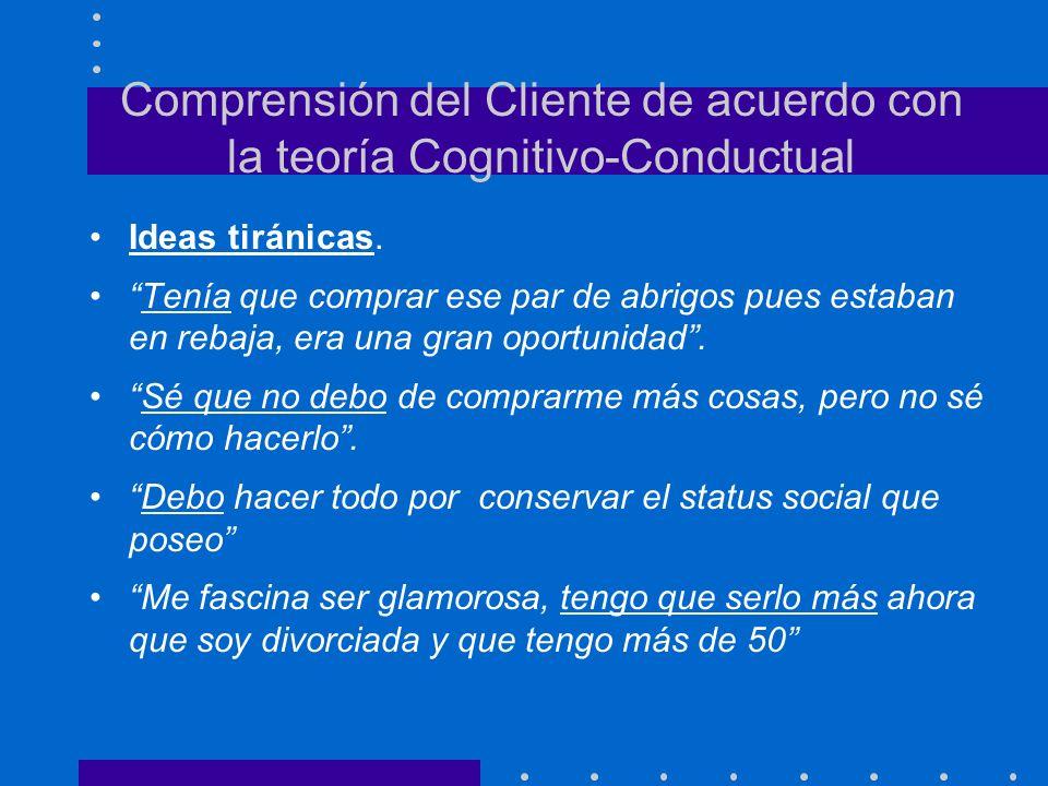 Comprensión del Cliente de acuerdo con la teoría Cognitivo-Conductual Ideas tiránicas. Tenía que comprar ese par de abrigos pues estaban en rebaja, er