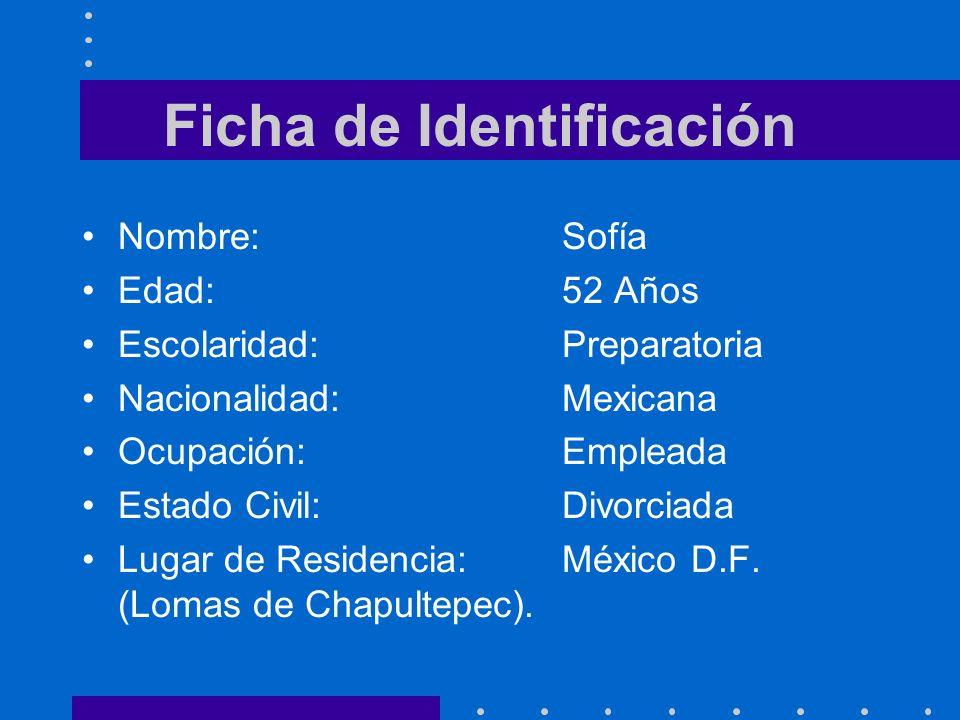Ficha de Identificación Nombre:Sofía Edad:52 Años Escolaridad:Preparatoria Nacionalidad:Mexicana Ocupación:Empleada Estado Civil:Divorciada Lugar de R