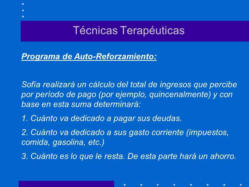 Técnicas Terapéuticas Programa de Auto-Reforzamiento: Sofía realizará un cálculo del total de ingresos que percibe por período de pago (por ejemplo, q