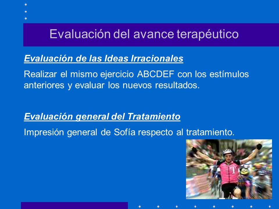 Evaluación del avance terapéutico Evaluación de las Ideas Irracionales Realizar el mismo ejercicio ABCDEF con los estímulos anteriores y evaluar los n