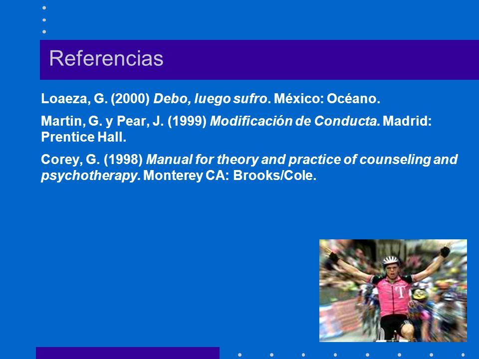 Referencias Loaeza, G. (2000) Debo, luego sufro. México: Océano. Martin, G. y Pear, J. (1999) Modificación de Conducta. Madrid: Prentice Hall. Corey,