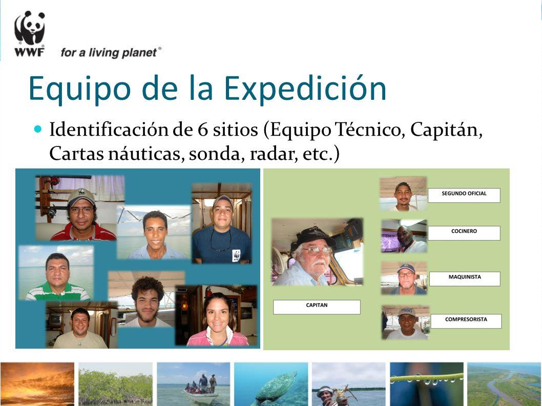 Equipo de la Expedición Identificación de 6 sitios (Equipo Técnico, Capitán, Cartas náuticas, sonda, radar, etc.)