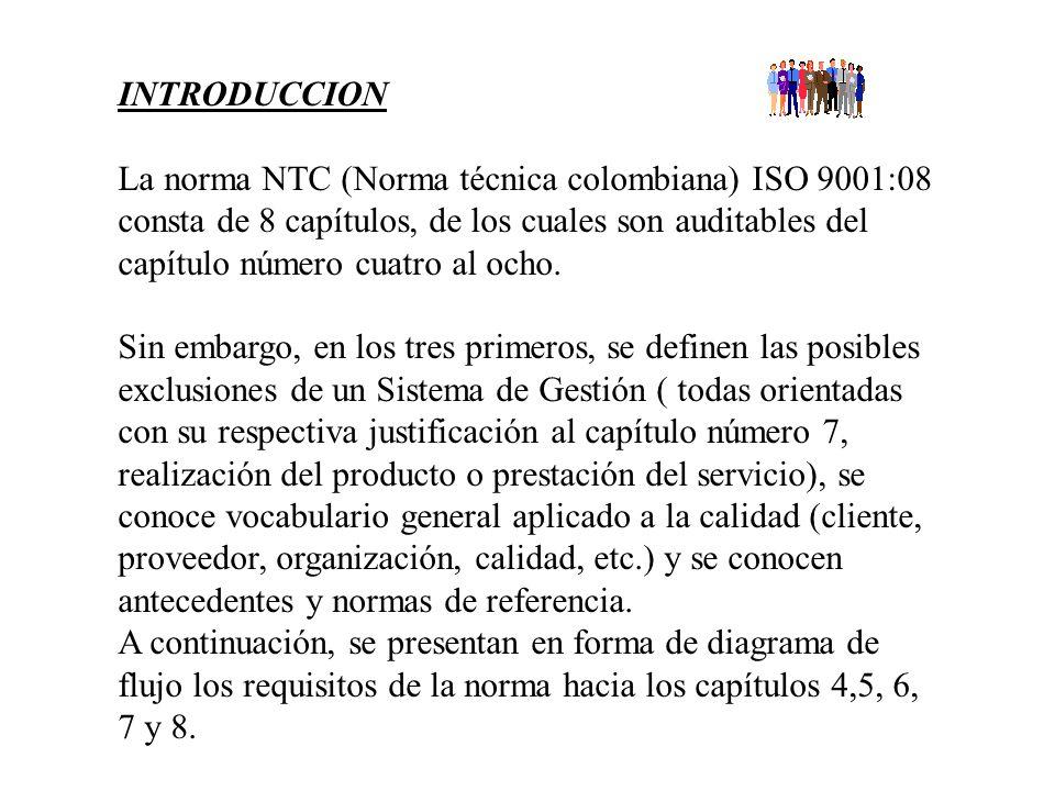 INTRODUCCION La norma NTC (Norma técnica colombiana) ISO 9001:08 consta de 8 capítulos, de los cuales son auditables del capítulo número cuatro al ocho.