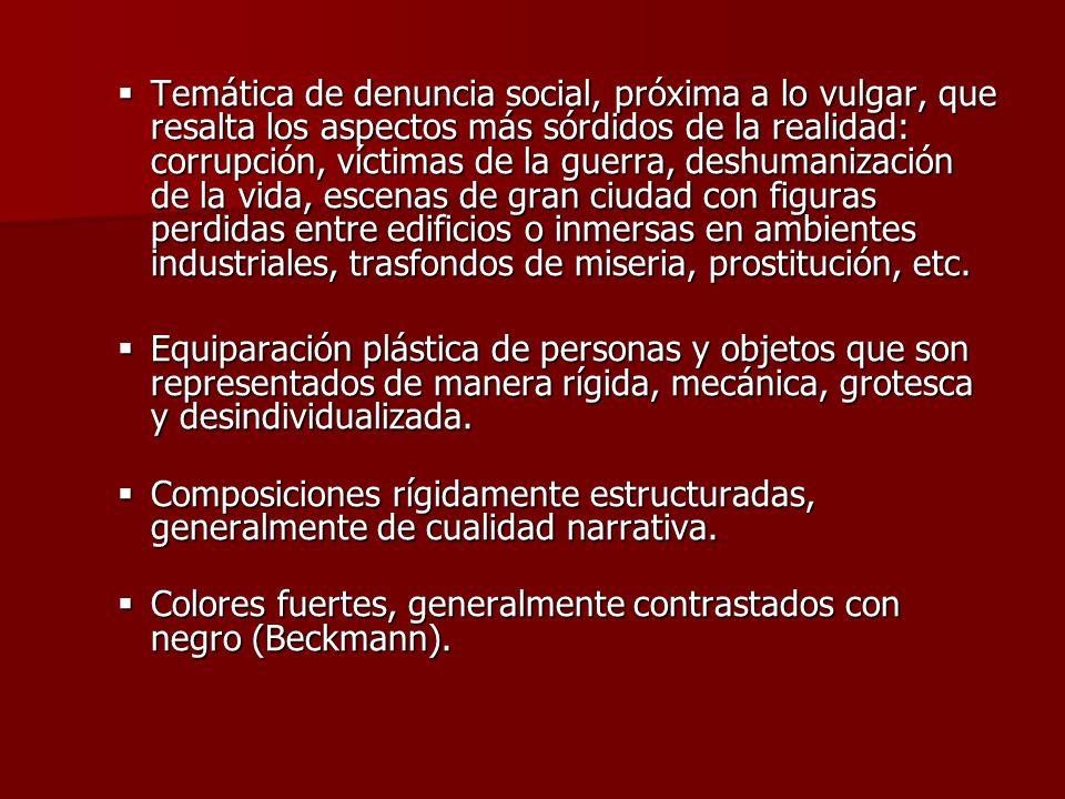 Temática de denuncia social, próxima a lo vulgar, que resalta los aspectos más sórdidos de la realidad: corrupción, víctimas de la guerra, deshumaniza