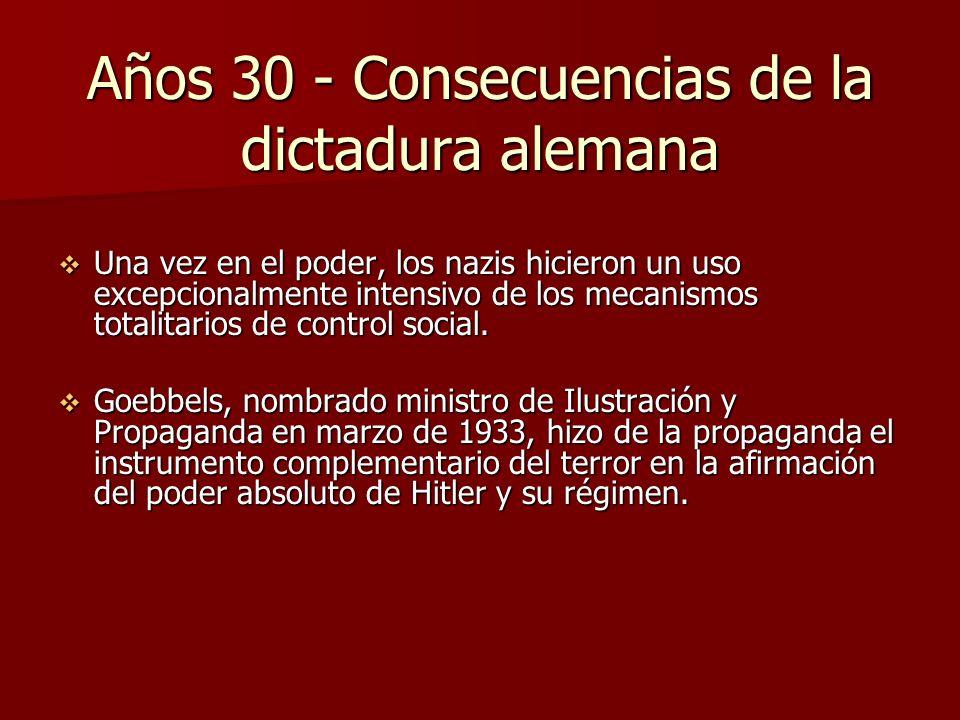 Años 30 - Consecuencias de la dictadura alemana Una vez en el poder, los nazis hicieron un uso excepcionalmente intensivo de los mecanismos totalitari