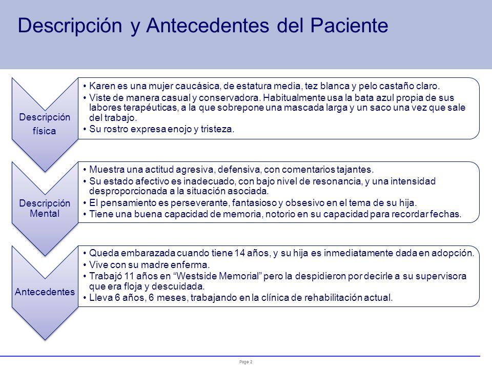 Page 1 Ficha de Identificación (1) Nombre: Karen Edad.50 años Nacionalidad: Norteamericana Estado civil:Soltera Ocupación:Terapeuta de rehabilitación