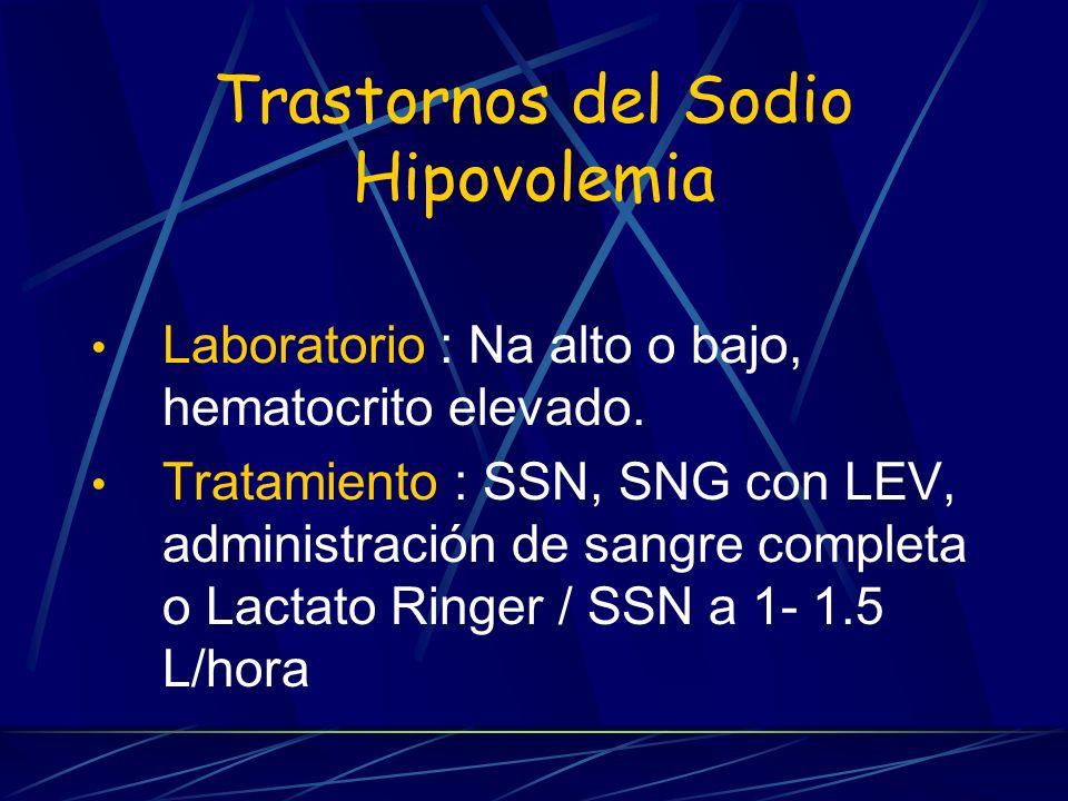 Trastornos del Sodio Hipovolemia Laboratorio : Na alto o bajo, hematocrito elevado. Tratamiento : SSN, SNG con LEV, administración de sangre completa