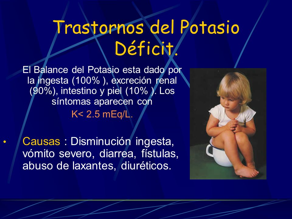 Trastornos del Potasio Déficit. El Balance del Potasio esta dado por la ingesta (100% ), excreción renal (90%), intestino y piel (10% ). Los síntomas