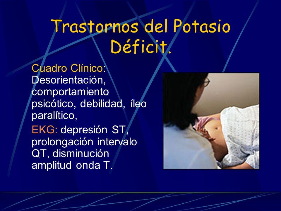 Trastornos del Potasio Déficit. Cuadro Clínico: Desorientación, comportamiento psicótico, debilidad, íleo paralítico, EKG: depresión ST, prolongación