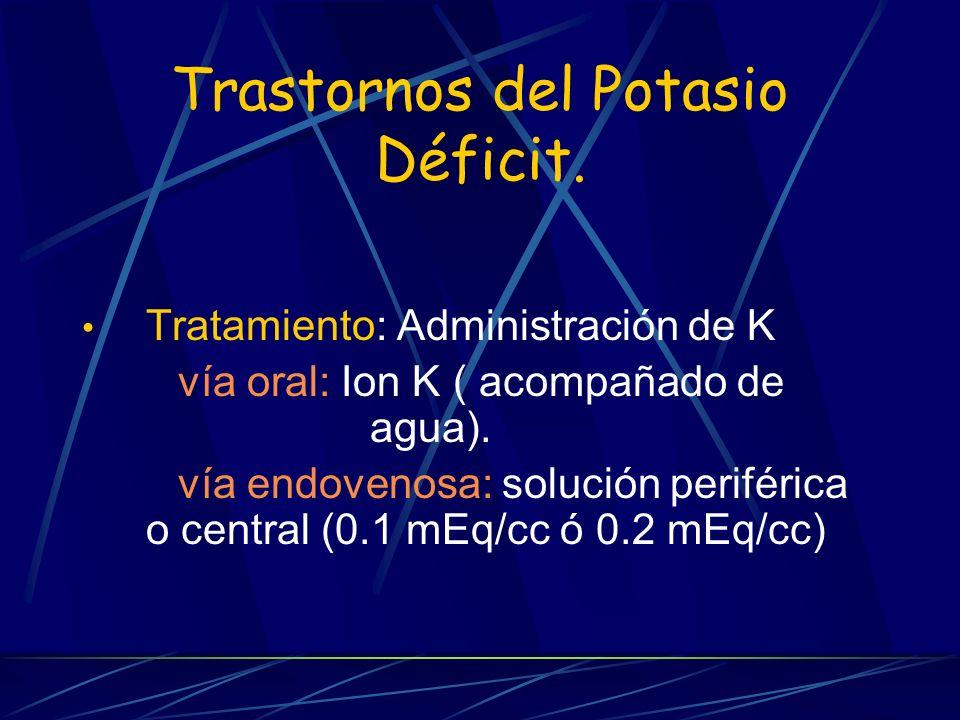 Trastornos del Potasio Déficit. Tratamiento: Administración de K vía oral: Ion K ( acompañado de agua). vía endovenosa: solución periférica o central
