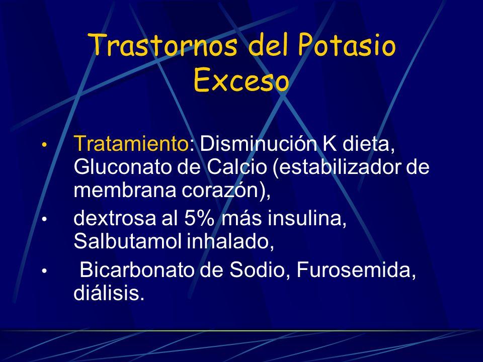 Trastornos del Potasio Exceso Tratamiento: Disminución K dieta, Gluconato de Calcio (estabilizador de membrana corazón), dextrosa al 5% más insulina,