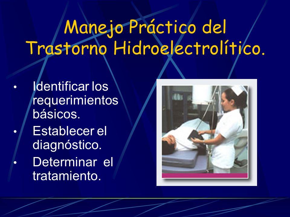 Trastornos del Sodio Hipovolemia Laboratorio : Na alto o bajo, hematocrito elevado.