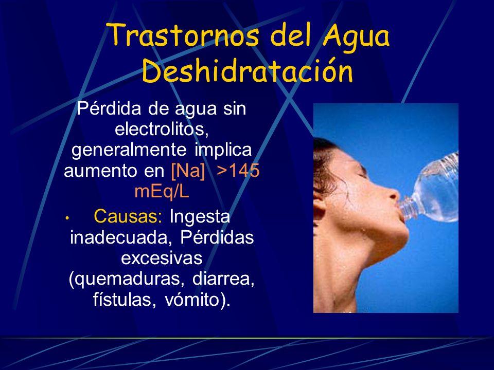 Trastornos del Agua Deshidratación Pérdida de agua sin electrolitos, generalmente implica aumento en [Na] >145 mEq/L Causas: Ingesta inadecuada, Pérdi