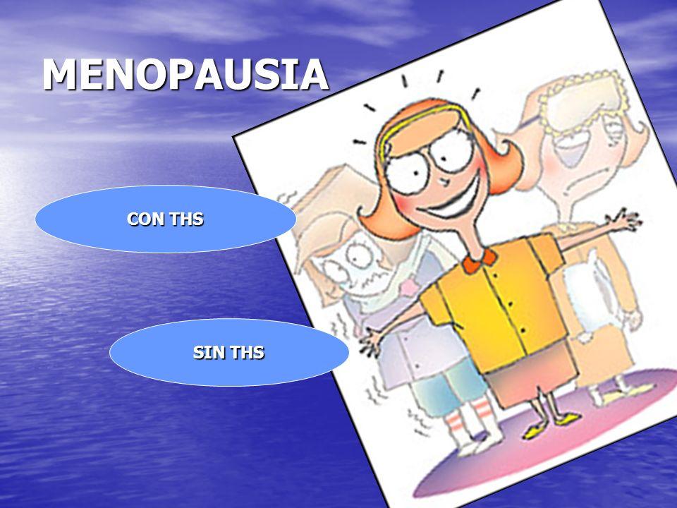 MENOPAUSIA +THS MENOPAUSIA +THS Revisión:- Analítica y TA Revisión:- Analítica y TA Citología (según protocolo) Citología (según protocolo) Ecografía vaginal Ecografía vaginal Mamografía Mamografía Densitometría (ocasional) Densitometría (ocasional) Med.familia matrona UGA OTROS ESPECIALISTAS ESPECIALISTAS