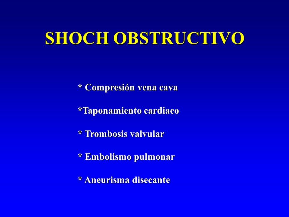 SHOCH OBSTRUCTIVO * Compresión vena cava *Taponamiento cardiaco * Trombosis valvular * Embolismo pulmonar * Aneurisma disecante