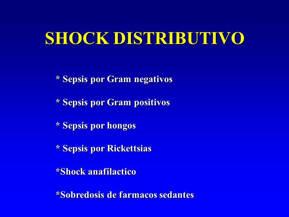 SHOCK DISTRIBUTIVO * Sepsis por Gram negativos * Sepsis por Gram positivos * Sepsis por hongos * Sepsis por Rickettsias *Shock anafilactico *Sobredosi