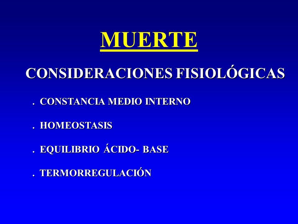 MUERTE CONSIDERACIONES FISIOLÓGICAS. CONSTANCIA MEDIO INTERNO. HOMEOSTASIS. EQUILIBRIO ÁCIDO- BASE. TERMORREGULACIÓN