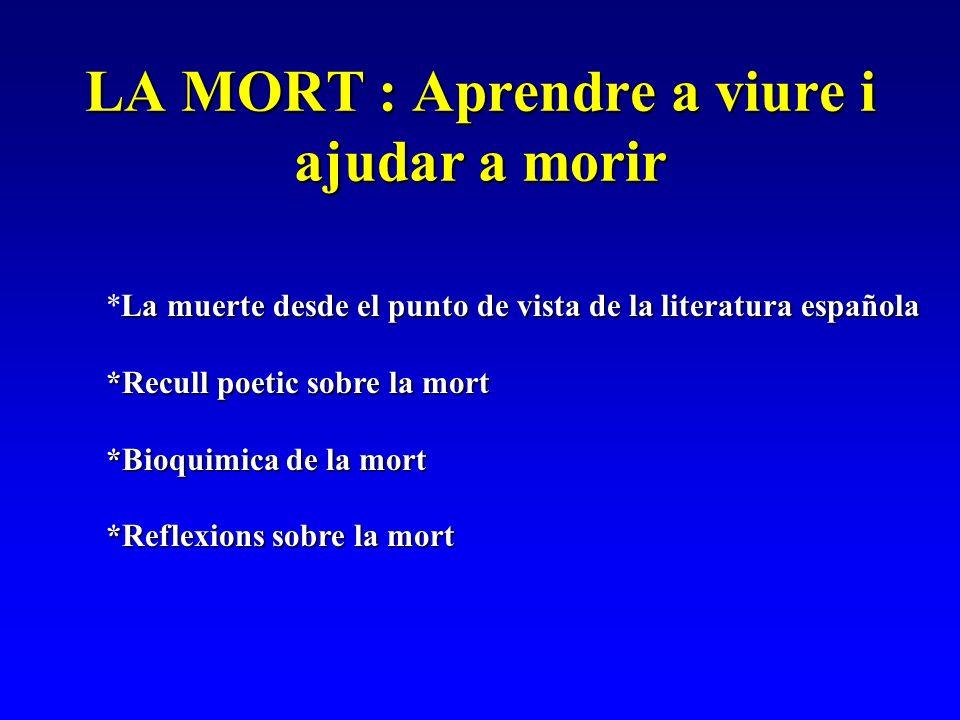 LA MORT : Aprendre a viure i ajudar a morir La muerte desde el punto de vista de la literatura española *La muerte desde el punto de vista de la liter