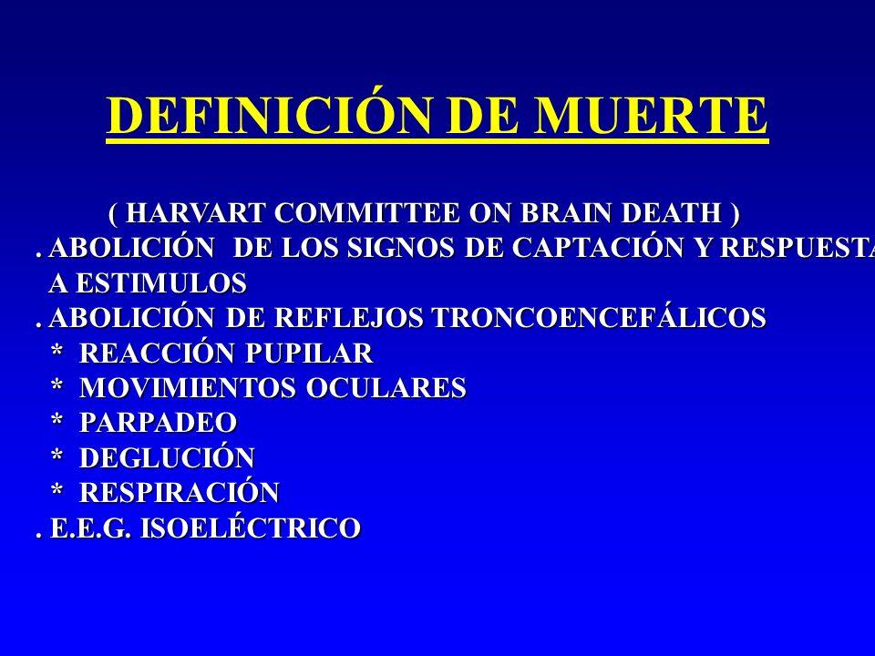 DEFINICIÓN DE MUERTE ( HARVART COMMITTEE ON BRAIN DEATH ) ( HARVART COMMITTEE ON BRAIN DEATH ). ABOLICIÓN DE LOS SIGNOS DE CAPTACIÓN Y RESPUESTA A EST
