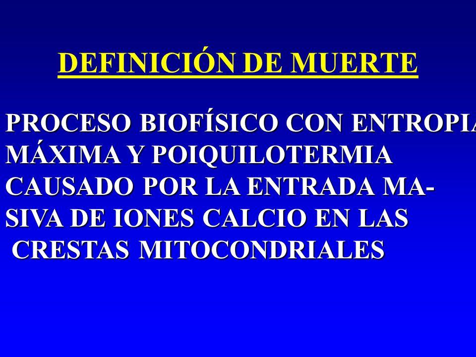 DEFINICIÓN DE MUERTE PROCESO BIOFÍSICO CON ENTROPIA MÁXIMA Y POIQUILOTERMIA CAUSADO POR LA ENTRADA MA- SIVA DE IONES CALCIO EN LAS CRESTAS MITOCONDRIA