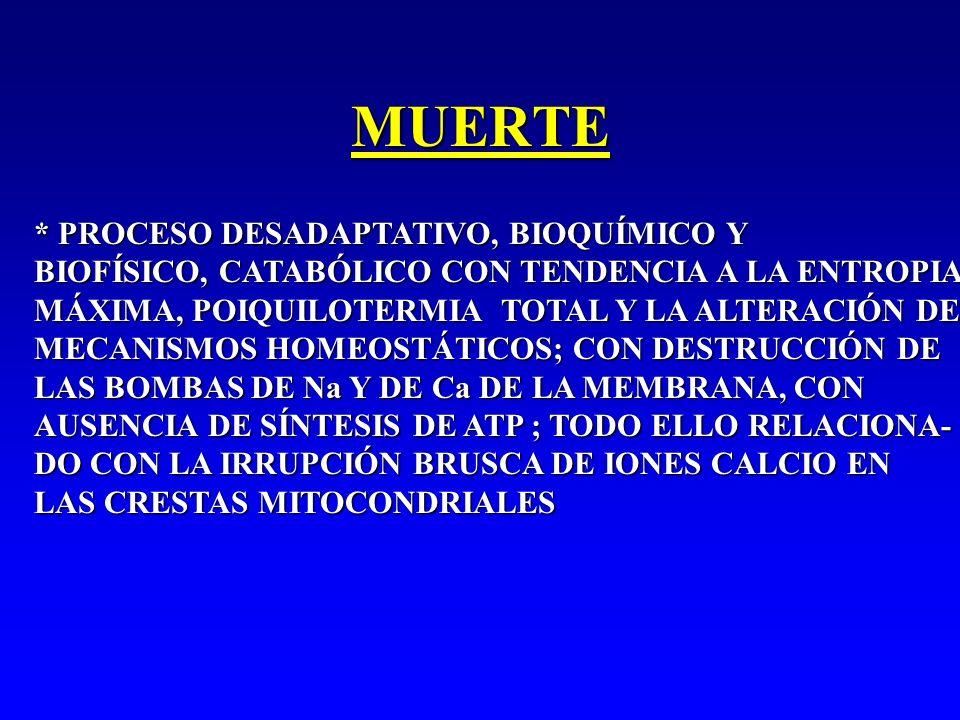MUERTE * PROCESO DESADAPTATIVO, BIOQUÍMICO Y BIOFÍSICO, CATABÓLICO CON TENDENCIA A LA ENTROPIA MÁXIMA, POIQUILOTERMIA TOTAL Y LA ALTERACIÓN DE MECANIS