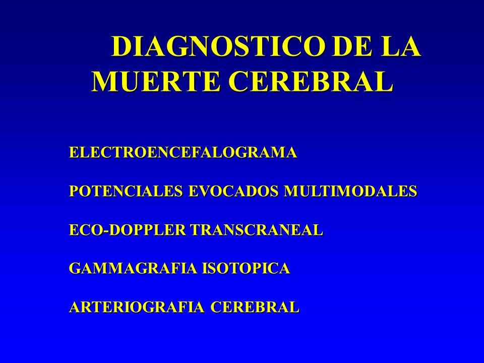 DIAGNOSTICO DE LA MUERTE CEREBRAL ELECTROENCEFALOGRAMA POTENCIALES EVOCADOS MULTIMODALES ECO-DOPPLER TRANSCRANEAL GAMMAGRAFIA ISOTOPICA ARTERIOGRAFIA