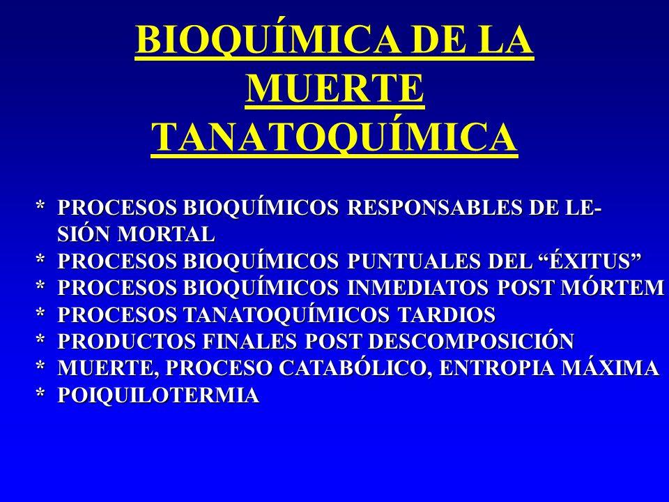 BIOQUÍMICA DE LA MUERTE TANATOQUÍMICA * PROCESOS BIOQUÍMICOS RESPONSABLES DE LE- SIÓN MORTAL SIÓN MORTAL * PROCESOS BIOQUÍMICOS PUNTUALES DEL ÉXITUS *