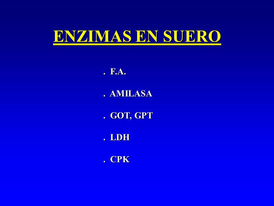 ENZIMAS EN SUERO. F.A.. AMILASA. GOT, GPT. LDH. CPK