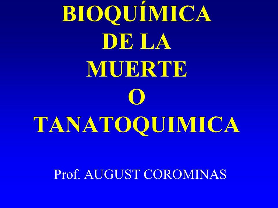 BIOQUÍMICA DE LA MUERTE O TANATOQUIMICA Prof. AUGUST COROMINAS