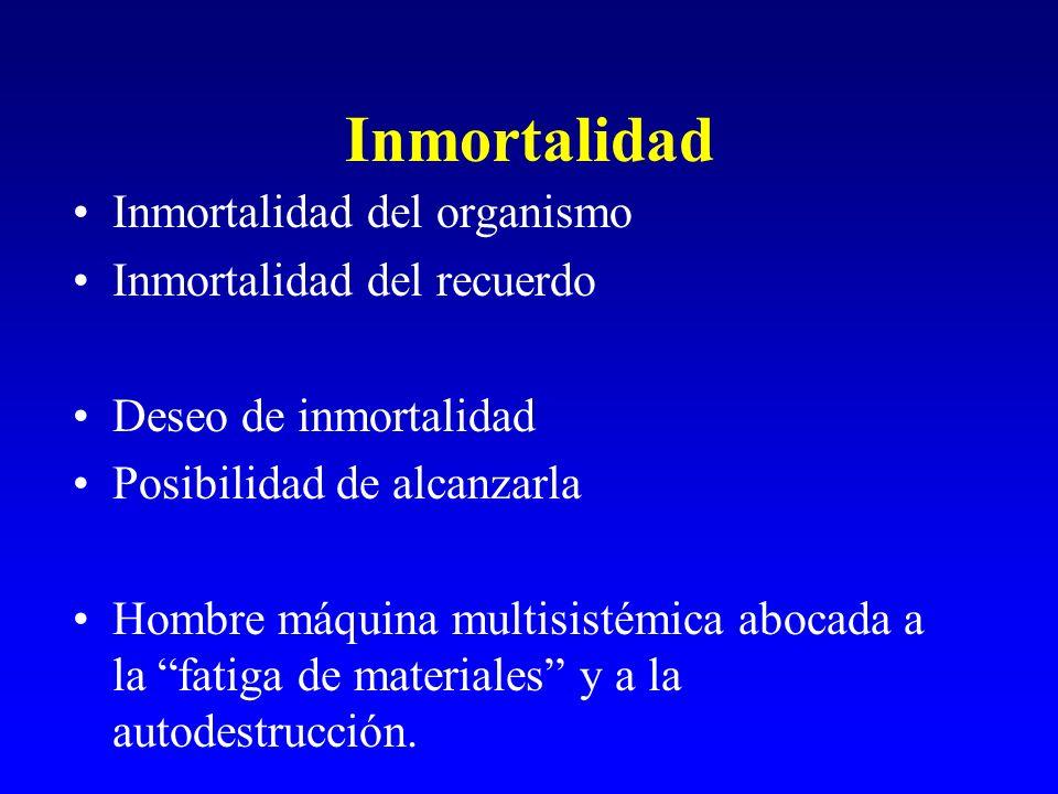 Inmortalidad Inmortalidad del organismo Inmortalidad del recuerdo Deseo de inmortalidad Posibilidad de alcanzarla Hombre máquina multisistémica abocad