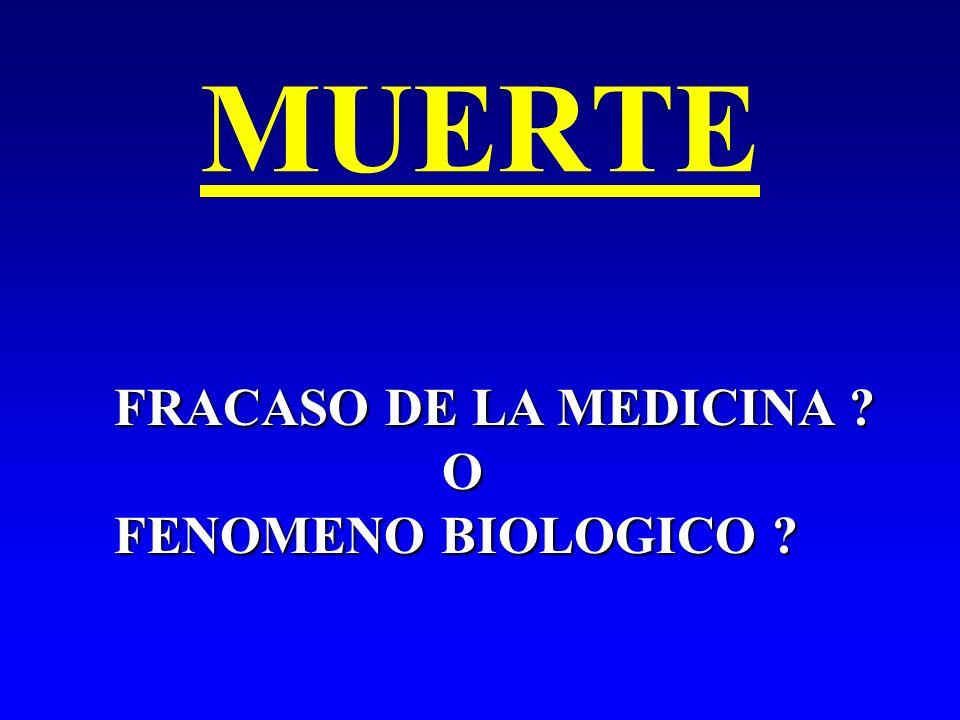 MUERTE FRACASO DE LA MEDICINA ? O FENOMENO BIOLOGICO ?