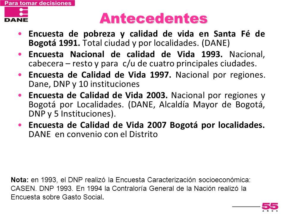 Antecedentes Encuesta de pobreza y calidad de vida en Santa Fé de Bogotá 1991. Total ciudad y por localidades. (DANE) Encuesta Nacional de calidad de