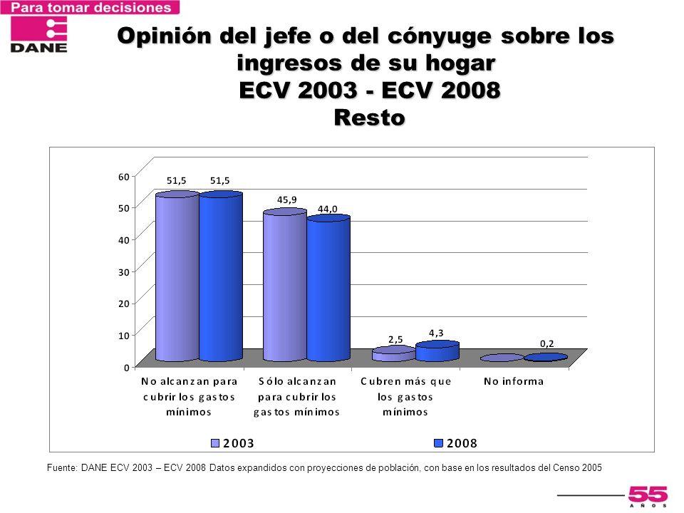 Encuesta Nacional de Calidad de Vida 2003 Opinión del jefe o del cónyuge sobre los ingresos de su hogar ECV 2003 - ECV 2008 Resto Fuente: DANE ECV 200