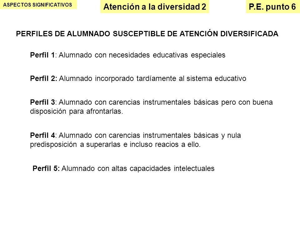 Atención a la diversidad 2 ASPECTOS SIGNIFICATIVOS P.E. punto 6 PERFILES DE ALUMNADO SUSCEPTIBLE DE ATENCIÓN DIVERSIFICADA Perfil 4: Alumnado con care