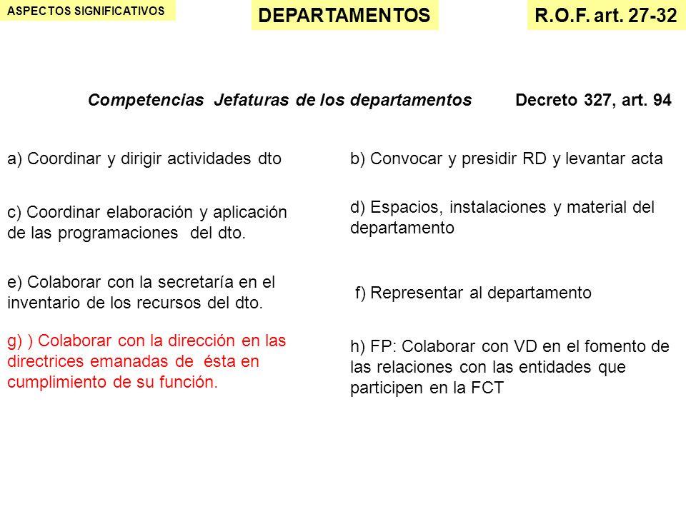 ASPECTOS SIGNIFICATIVOS DEPARTAMENTOSR.O.F. art. 27-32 Competencias Jefaturas de los departamentosDecreto 327, art. 94 a) Coordinar y dirigir activida