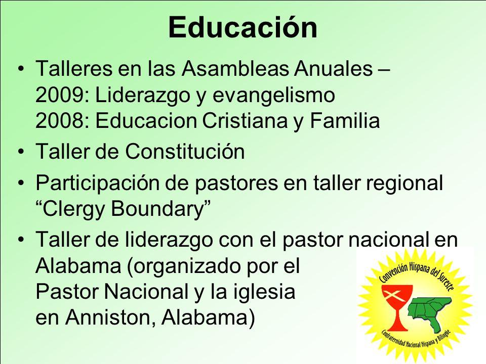 Educación Talleres en las Asambleas Anuales – 2009: Liderazgo y evangelismo 2008: Educacion Cristiana y Familia Taller de Constitución Participación d