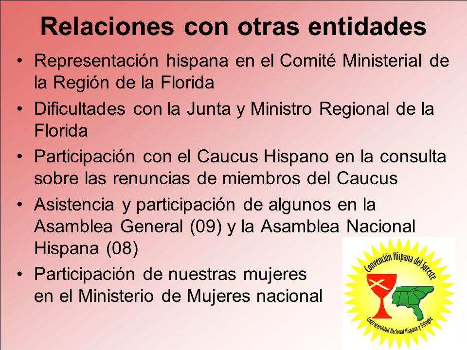 Relaciones con otras entidades Representación hispana en el Comité Ministerial de la Región de la Florida Dificultades con la Junta y Ministro Regiona