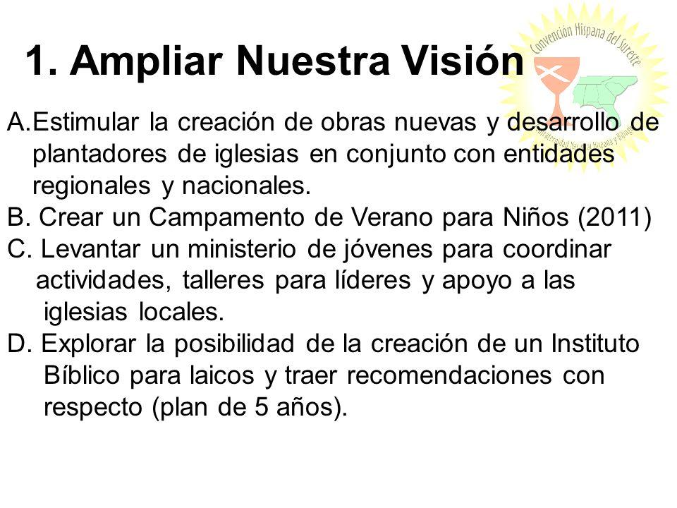 1. Ampliar Nuestra Visión A.Estimular la creación de obras nuevas y desarrollo de plantadores de iglesias en conjunto con entidades regionales y nacio