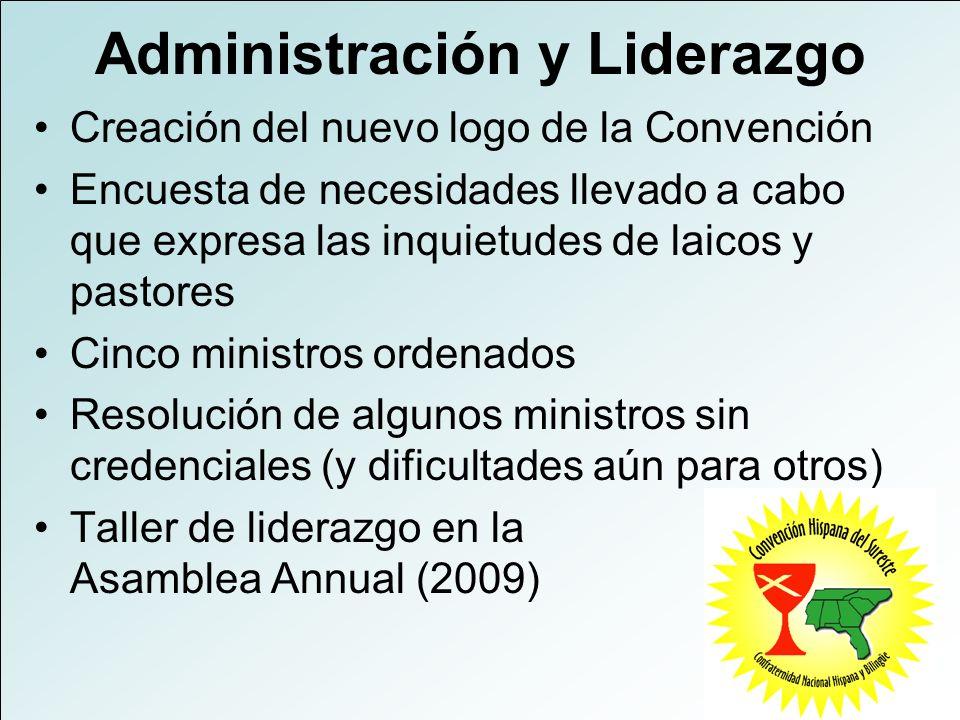 Administración y Liderazgo Creación del nuevo logo de la Convención Encuesta de necesidades llevado a cabo que expresa las inquietudes de laicos y pas