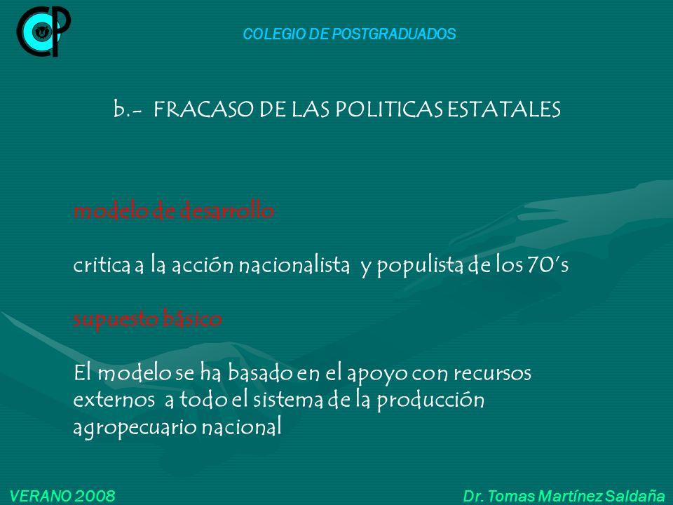 COLEGIO DE POSTGRADUADOS VERANO 2008 Dr. Tomas Martínez Saldaña modelo de desarrollo critica a la acción nacionalista y populista de los 70s supuesto