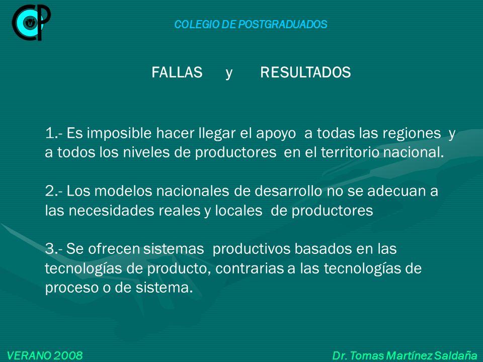COLEGIO DE POSTGRADUADOS VERANO 2008 Dr. Tomas Martínez Saldaña 1.- Es imposible hacer llegar el apoyo a todas las regiones y a todos los niveles de p