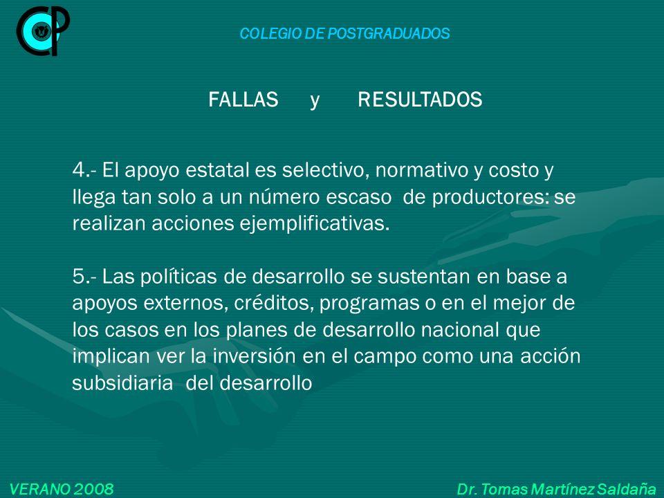COLEGIO DE POSTGRADUADOS VERANO 2008 Dr. Tomas Martínez Saldaña 4.- El apoyo estatal es selectivo, normativo y costo y llega tan solo a un número esca