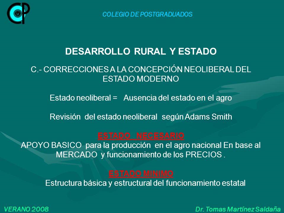 COLEGIO DE POSTGRADUADOS VERANO 2008 Dr. Tomas Martínez Saldaña DESARROLLO RURAL Y ESTADO C.- CORRECCIONES A LA CONCEPCIÓN NEOLIBERAL DEL ESTADO MODER
