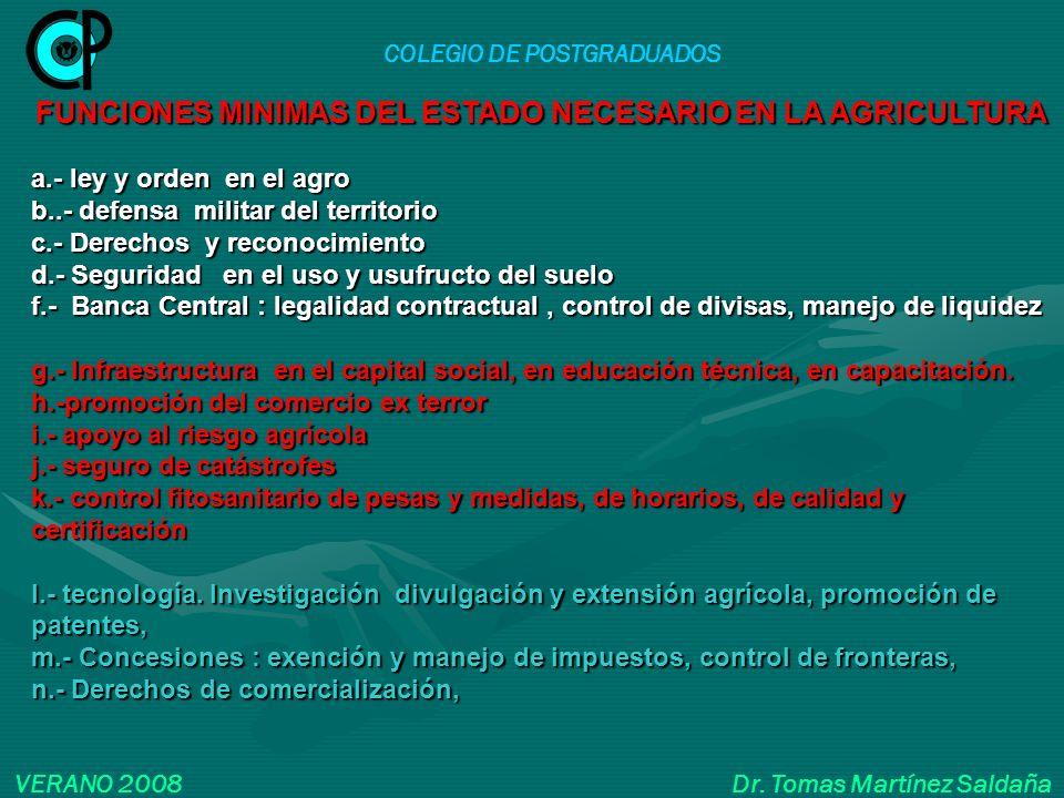 COLEGIO DE POSTGRADUADOS VERANO 2008 Dr. Tomas Martínez Saldaña FUNCIONES MINIMAS DEL ESTADO NECESARIO EN LA AGRICULTURA a.- ley y orden en el agro b.