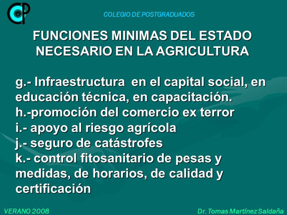 COLEGIO DE POSTGRADUADOS VERANO 2008 Dr. Tomas Martínez Saldaña FUNCIONES MINIMAS DEL ESTADO NECESARIO EN LA AGRICULTURA g.- Infraestructura en el cap