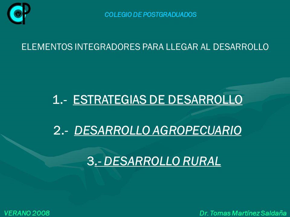COLEGIO DE POSTGRADUADOS VERANO 2008 Dr. Tomas Martínez Saldaña 1.- ESTRATEGIAS DE DESARROLLO 2.- DESARROLLO AGROPECUARIO 3.- DESARROLLO RURAL ELEMENT